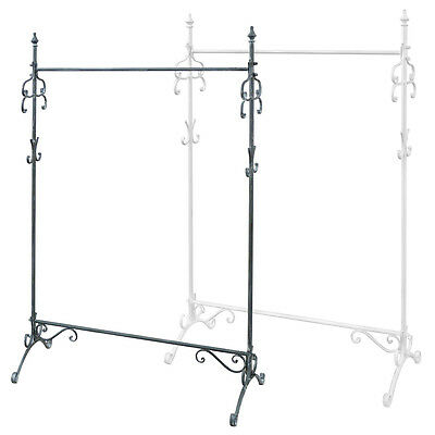 Charles Bentley Vintage Wrought Iron Sturdy Clothes Hanging Rail Coat Rack Stand