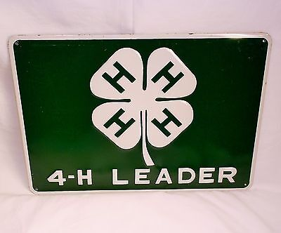 4-H Leader Green & White Metal Tin Sign 4H Agriculture Clover