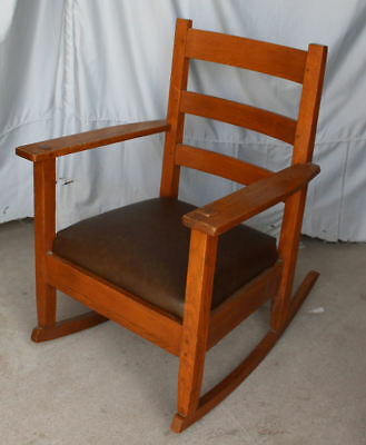 Antique Mission Oak Rocking Chair Rocker Lifetime Furniture Company Arts & Craft