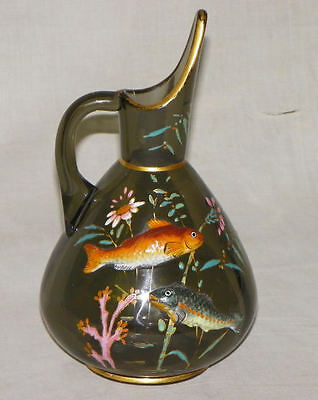 Moser smoke colored Glass Pitcher with Enameled and Applied Fish Design