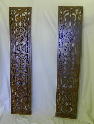 Antique Two Matching Pieces of Oak Fretwork Architectural