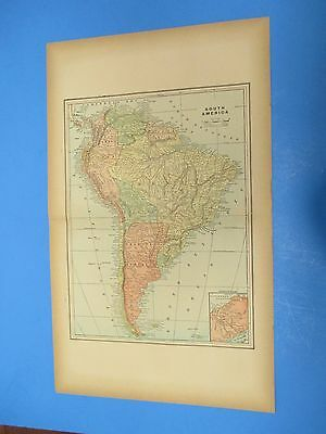 """1893 Popular Atlas Map 2 Page,South America Color,Suitable Frame 13 1/2"""" X 22"""""""