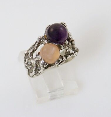 Vintage Branch Design Double Spheres PURPLE PINK Sterling Silver Ring Size 6