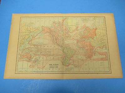 """1893 Popular Atlas Map 2 Page, The World,Nice Color,Suitable Frame 13 1/2"""" X 22"""""""