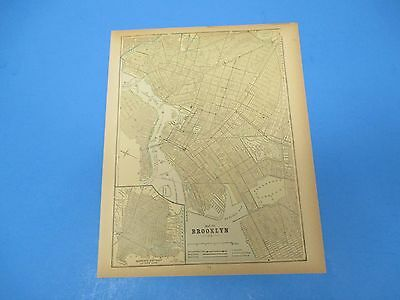1893 Popular Atlas Map 1 page, Map of Brooklyn, Suitable to Frame, Color