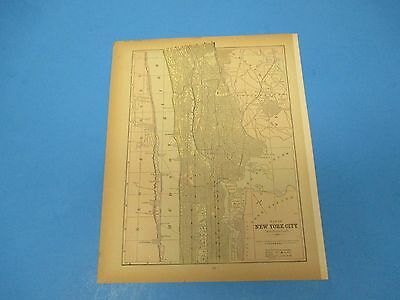 1893 Popular Atlas Map 1 page, Map of Northern New York City, Suitable to Frame