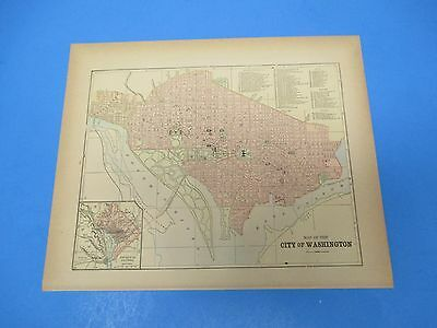 1893 Popular Atlas Map 1 page, City of Washington, Suitable to Frame, Color