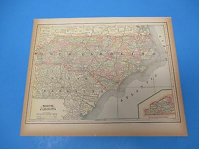 1893 Popular Atlas Map 1 page, North Carolina, Suitable to Frame, Color