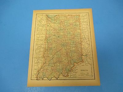 1893 Popular Atlas Map 1 page, Indiana, Suitable to Frame, Color
