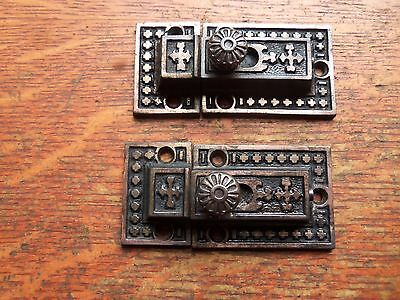 Two Matching Antique Fancy Victorian Iron Cabinet Latches Russell & Erwin c1885