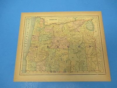 1893 Popular Atlas Map 1 page, Oregon, Suitable to Frame, Color