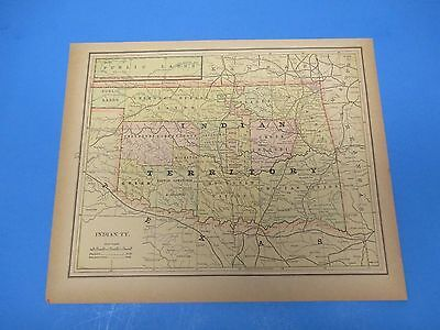 1893 Popular Atlas Map 1 page, Indian Territory, Suitable to Frame, Color
