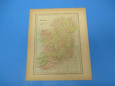 1893 Popular Atlas Map 1 page, Ireland, Suitable to Frame, Color