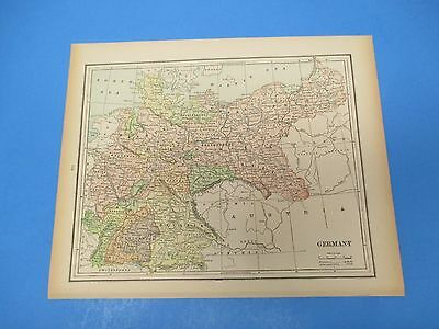 1893 Popular Atlas Map 1 page, Germany, Suitable to Frame, Color