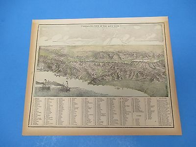 1893 Popular Atlas Map 1 page, Birds-Eye-View of The Holy Land Suitable to Frame