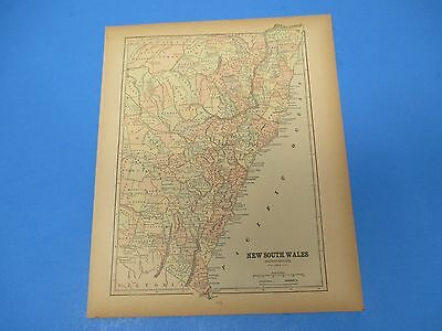 1893 Popular Atlas Map 1 page, New South Wales, Suitable to Frame, Color