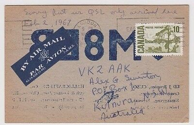 Canadian University Sarawak Borneo 9M8EB amateur radio card 1965 to Australia