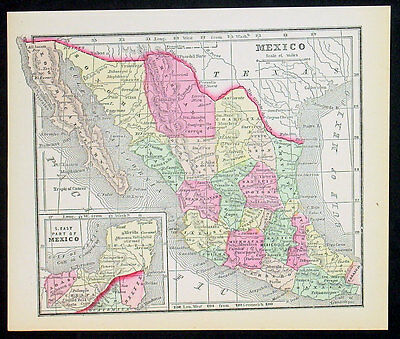 1857 AB Griswold Antique Map of Mexico