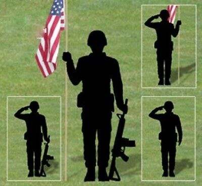 "**NEW** Handmade Lawn Art Yard Shadow Silhouette - Saluting Soldier - 71"" x 36"""