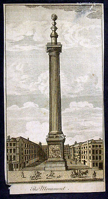 1750 Antique Print of The Monument London built in 1677