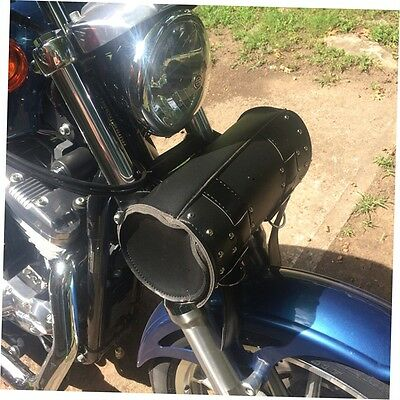Black Motorcycle Scooter Round Barrel Storage Tool Pouch Handle Bar Bag AA