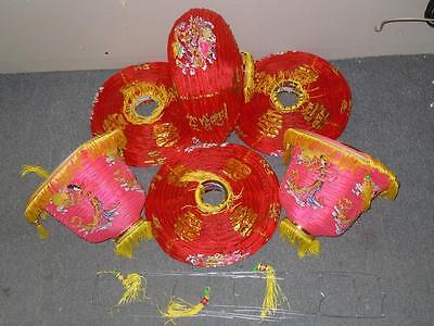 """Vintage Lot 6 Chinese Asian Paper Hanging Latern lamps Red 12"""" Round & 10"""" Bell"""