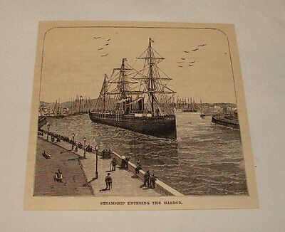 1885 magazine engraving ~ STEAMSHIP ENTERING HARBOR, Le Havre