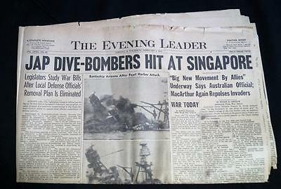 Vintage Wwii Newspaper 3 February 1942 Wwii Japanese Dive Bombers Hit Singapore