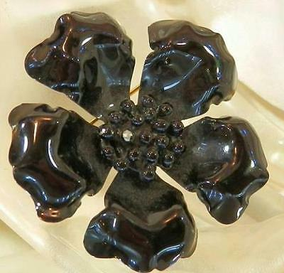 Pretty Vintage 50's Black Enamel Flower Brooch 276AG6