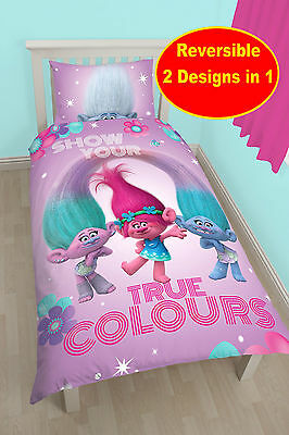 New Dreamworks Trolls Glow Single Duvet Quilt Cover Set Girls Pink Kids Bedroom
