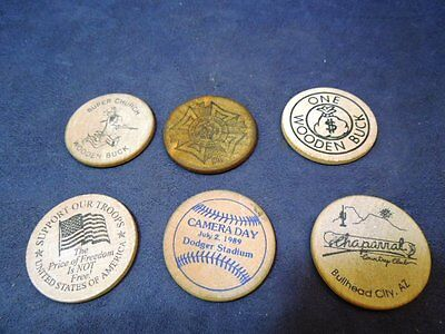 Collection Lot Of 6 Vintage Wooden Nickel Style Tokens