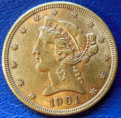 1901 Half Eagle Liberty Head Gold Piece About Uncirculated to MS $5 #9739