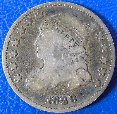 1828 Capped Bust Dime Fine F US Coin Small Date SD #10743