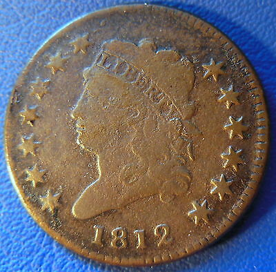 1812 Classic Head Large Cent Very Fine VF Corroded 1c US Coin #6267