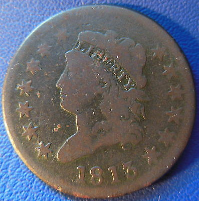 1813 Classic Head Large Cent Very Good VG Original Better Date 1c US Coin #6268