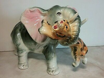 Rare Vintage Elephant Figurine with Tiger in its trunk! Ceramic - Japan