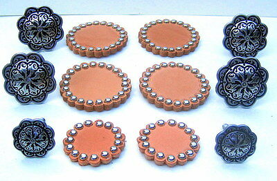 6 Pc. Jeremiah Watt Stainless Saddle Conchos+Russet Leather Rosettes With Spots