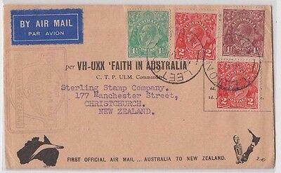 Stamps various KGV issues 1934 Faith in Australia New Zealand flight cover