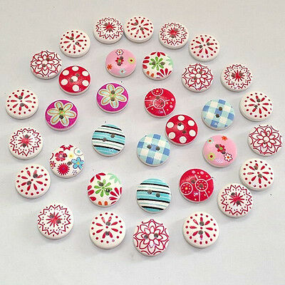 100Pcs 2 Holes Mixed Printing Round Pattern Wood Buttons Scrapbooking 15mm a