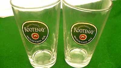 Kootenay Mountain ale glasses Creston Valley beer BC 16 ounce pair 2 glass