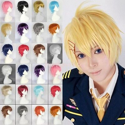 UK SELL Women Men Anime Short Wig Cosplay Party Straight Hair Party Full Wigs S1