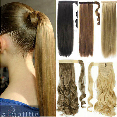 US 100% Real New Clip In human Hair Extension Pony Tail Wrap Around Ponytail QW8
