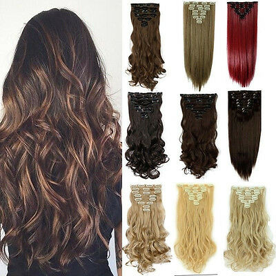 US Long Hairpiece Curly Wavy New As Human Synthetic Natural Hair Extension SZ9
