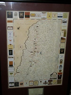 Napa Valley California Ca Framed Map Wine Winery Vinyard Tour Print Art Beringer