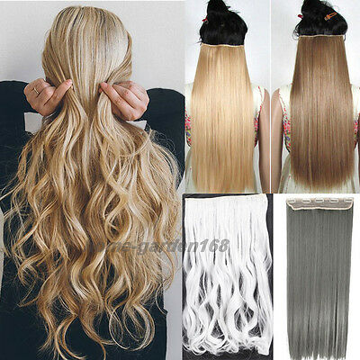 100% Real Natural Clip in Hair Extensions Deluxe Thick Hair piece for human hg66