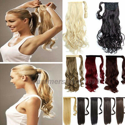 Long Ponytail Clip In Hair Extension Wrap Pony Tail Fake Hairpiece as human lb10