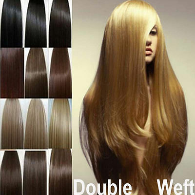 Deluxe True Thick Double Weft Remy Human Hair Extensions Clip In Full Head X287