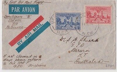 Stamps Australia various on cover sent airmail Deniliquin to Sheard Darwin
