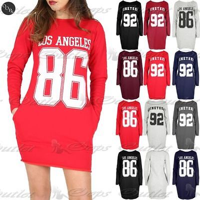 Damen Los Angeles 86 Nineteen 92 Seitentasche Weit Tunika Pullover