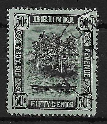 BRUNEI SG45a 1920 50c BLACK ON BLUE-GREEN USED